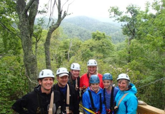 Sky Valley Zipline Tour Family Landing near Boone, NC