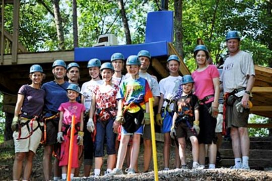 Smoky Mountain Zipline Adventure Family Landing Spot
