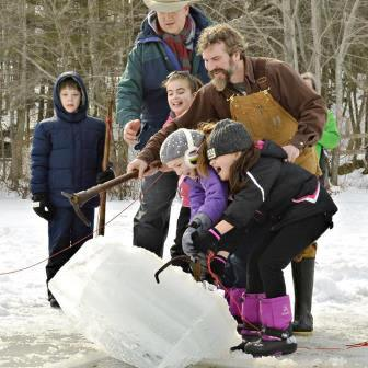 Family Fun Ice Fishing at East Hill in New Hampshire Farm