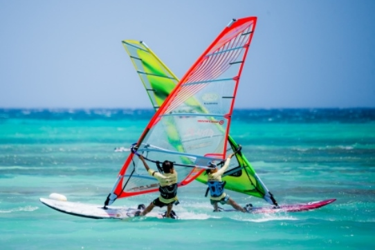 Teens Windsurfing off Aruba