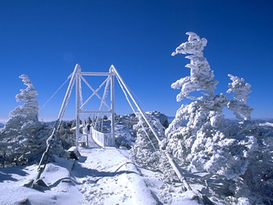 Boone NC Swinging Bridge in Winter