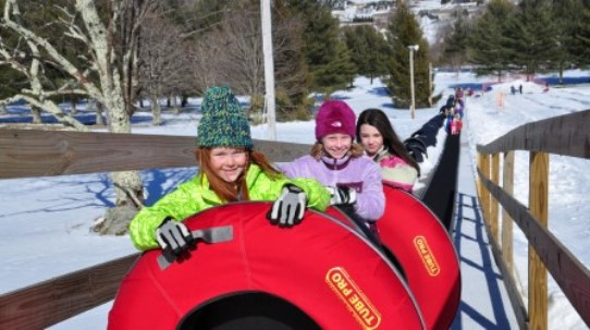 Boone NC Sugar Mountain Snow Tubing Line of Fun