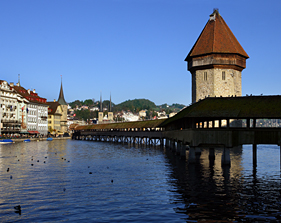 Medieval bridge in Lucerne, Switzerland ECHO Trails.com