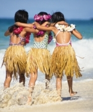 Hawaiian Islands Hula Girls in the Surf